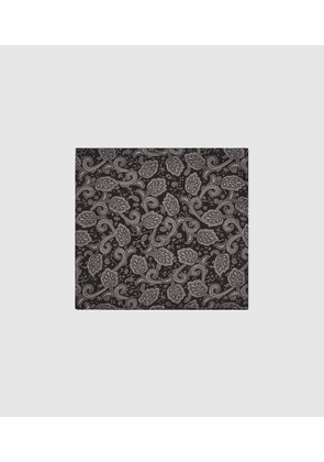 Reiss Amalfi - Silk Paisley Pocket Square in Charcoal, Mens