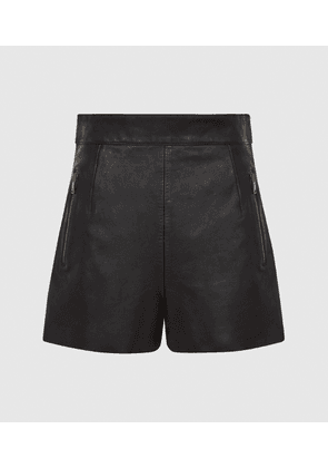 Reiss Bella - Leather Shorts in Black, Womens, Size 4