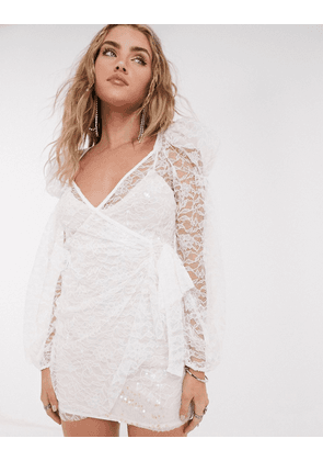 For Love & Lemons Lourve long sleeve dress in white