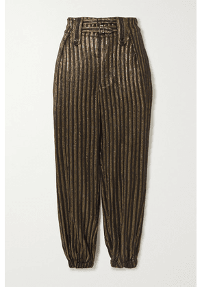 SAINT LAURENT - Metallic Striped Woven Tapered Pants - Black
