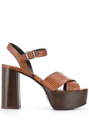Prada crossover platform sandals - Brown