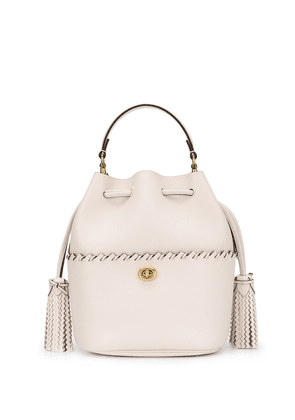 Coach whipstitched trim bucket bag - White