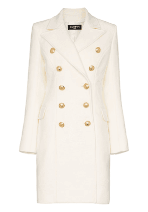 Balmain double breasted cashmere blend coat - White