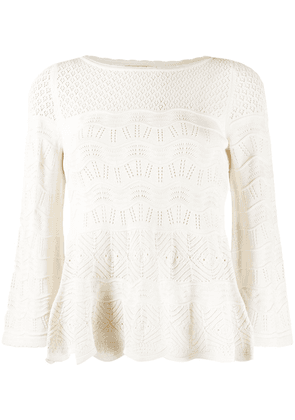 Twin-Set crocheted knit top - White