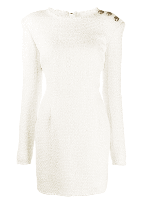 Balmain bouclé tweed mini dress - White