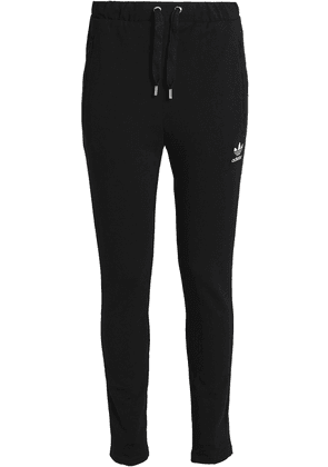 Adidas Originals Embroidered French Cotton-blend Terry Track Pants Woman Black Size 30