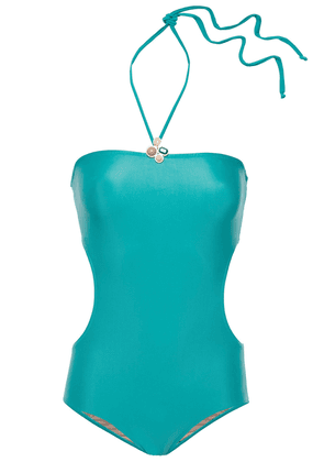 Adriana Degreas Stone-embellished Cutout Halterneck Swimsuit Woman Jade Size S