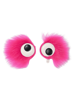Anya Hindmarch Set Of Two Leather-appliquéd Shearling Stickers Woman Fuchsia Size --