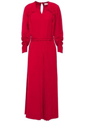 Carven Gathered Pleated Woven Midi Dress Woman Claret Size 34