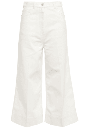 Cedric Charlier Cropped High-rise Flared Jeans Woman White Size 38