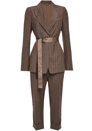 Brunello Cucinelli Bead-embellished Pinstriped Wool Suit Woman Chocolate Size 36