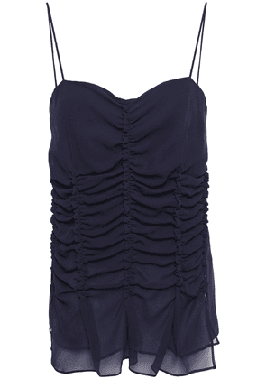 Carven Ruched Silk-chiffon Top Woman Midnight blue Size 34