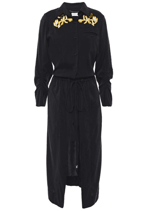 Carven Draped Embroidered Washed Silk-blend Midi Dress Woman Black Size 44