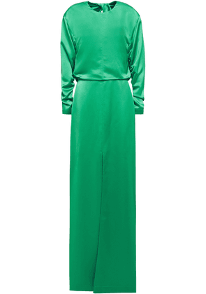 Cedric Charlier Cutout Twisted Draped Satin Gown Woman Green Size 38