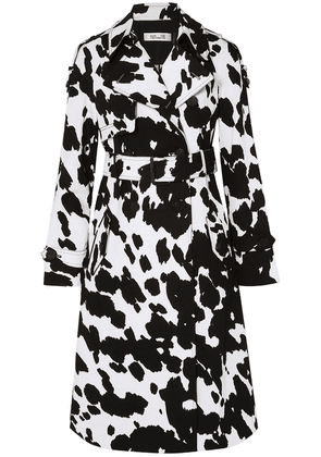 Diane Von Furstenberg Kaia Printed Stretch-cotton Twill Trench Woman Black Size S