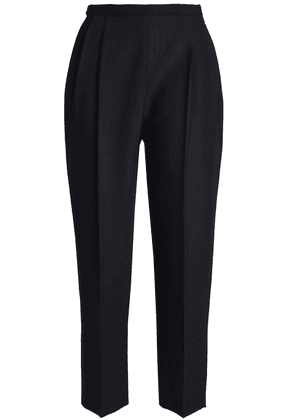 Delpozo Cropped Wool And Silk-blend Tapered Pants Woman Midnight blue Size 34