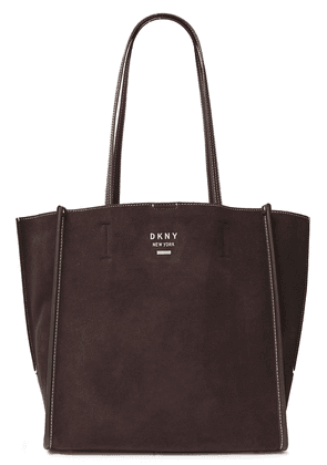 Dkny Allen Leather-trimmed Suede Tote Woman Chocolate Size --