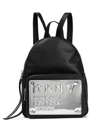 Dkny Embossed Mirrored Faux Leather And Shell Backpack Woman Black Size --