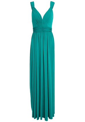 Catherine Deane Caterina Tulle-trimmed Gathered Crepe-jersey Gown Woman Green Size 6