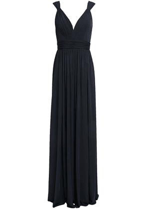 Catherine Deane Caterina Tulle-trimmed Gathered Crepe-jersey Gown Woman Midnight blue Size 6