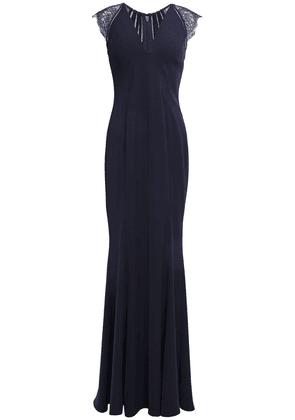 Catherine Deane Melissa Fluted Lace-paneled Lattice-trimmed Cady Gown Woman Navy Size 6