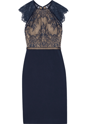 Catherine Deane Noella Crochet-trimmed Lace And Ponte Dress Woman Midnight blue Size 16