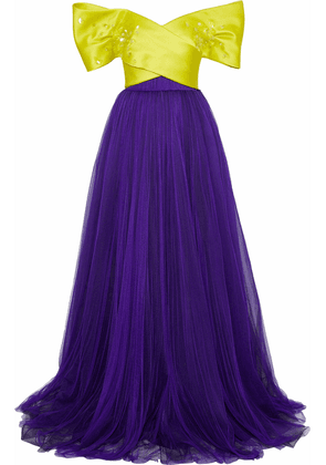 Delpozo Strapless Sequin-embellished  Silk-satin Faille And Tulle Gown Woman Purple Size 34