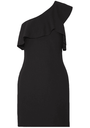 Elizabeth And James Jerard One-shoulder Ruffled Stretch-ponte Mini Dress Woman Black Size 8