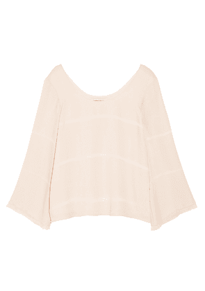 Elizabeth And James Fringe-trimmed Silk-crepe Top Woman Blush Size XS