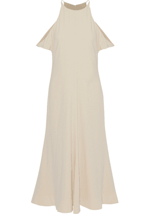 Elizabeth And James Cold-shoulder Crepe De Chine Midi Dress Woman Ecru Size 2