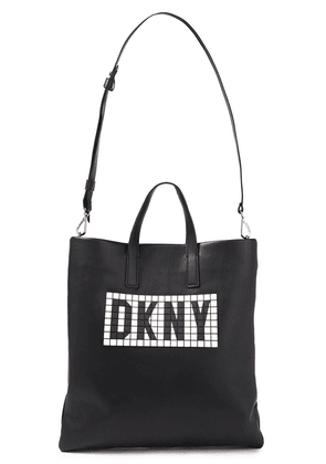 Dkny Tilly Logo-embellished Faux Textured-leather Tote Woman Black Size --