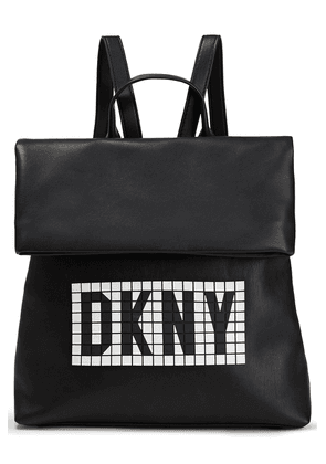 Dkny Tilly Logo-embellished Faux Textured-leather Backpack Woman Black Size --