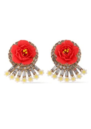 Elizabeth Cole Embellished 24-karat Gold-plated, Swarovski Crystal And Porcelain Earrings Woman Tomato red Size --