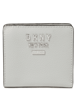 Dkny Logo-embellished Pebbled-leather Wallet Woman Light gray Size --
