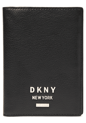 Dkny Pebbled-leather Passport Cover Woman Black Size --