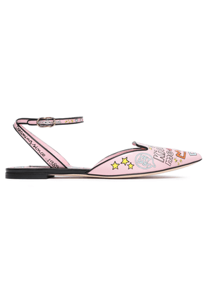 Dolce & Gabbana Printed Leather Slingback Point-toe Flats Woman Baby pink Size 35