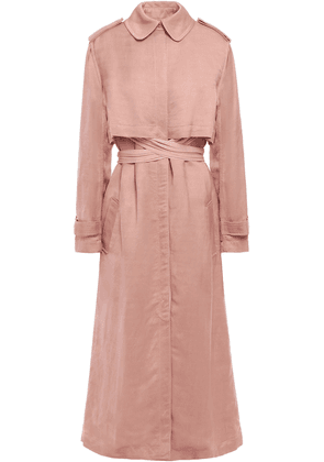 Esteban Cortazar Ribbed-trimmed Twill Trench Coat Woman Antique rose Size 38