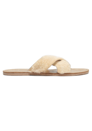 Figue Cupid Shearling Sandals Woman Beige Size 6