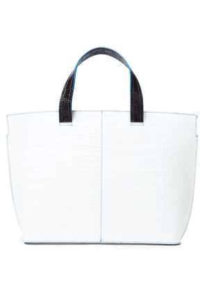 Ganni Croc-effect Leather Tote Woman White Size --