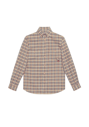 Check cotton shirt with cat patch