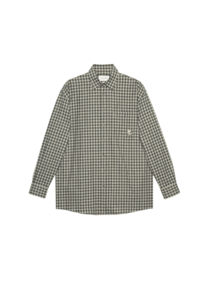 Check cotton wool shirt with patch