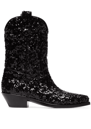 Dolce & Gabbana Gaucho 40 Sequined Cowboy Boots - Black