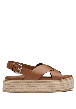 Prada leather platform sandals - Brown
