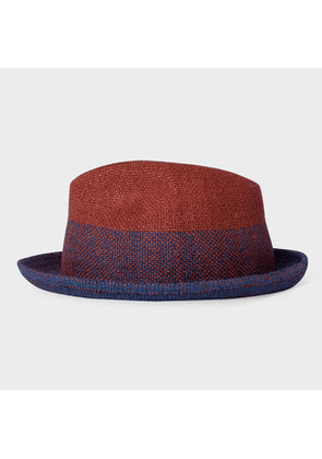 Men's Burgundy And Navy Two Tone Straw Trilby Hat