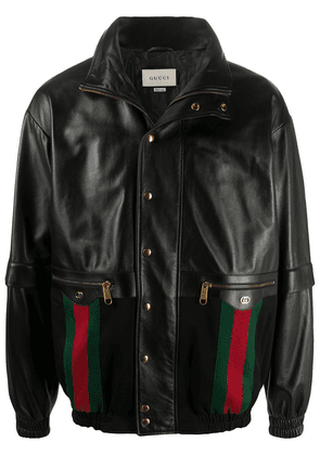 Gucci Web leather bomber jacket - Black