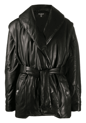 Balmain detachable sleeve padded jacket - Black