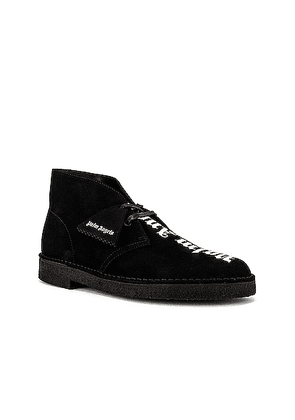 Palm Angels Logo Desert Boots in Black & White - Black. Size 40 (also in 41,42,43,44,45).