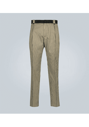 Striped cotton and silk-blend pants