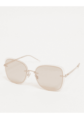 Hugo Boss oversized aviator sunglasses with wire frame detail in beige-Pink