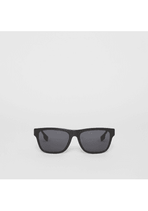 Burberry Vintage Check Detail Square Frame Sunglasses, Grey